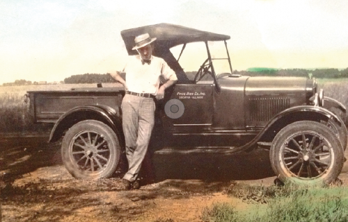 Frank Price, Sr., with 1927 Model T truck, Decatur, IL, 1937. (Courtesy of Frank Price)