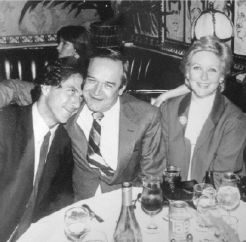 Dustin Hoffman, Frank Price, and his wife, Katherine Price, at the Tootsie premiere party, Hollywood Brown Derby, 1982. (Courtesy of Frank Price)