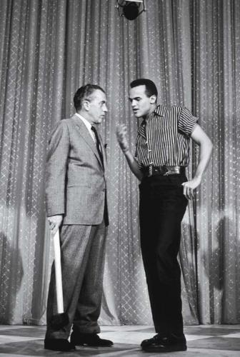 Belafonte with Ed Sullivan, mid-1950s. (Everett Collection)