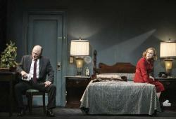 Ed Harris (as Dr. Bill Perch) and Amy Madigan (as Susan Perch) in The Jacksonian, which premiered in February 2012, at the Geffen Playhouse, Los Angeles, directed by Robert Falls. (All photographs by Michael Lamont)